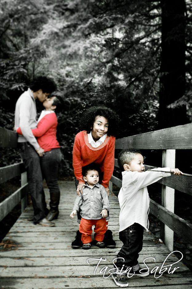 """secret kiss""   Family portraits outside at Temescal Park in Oakland California"