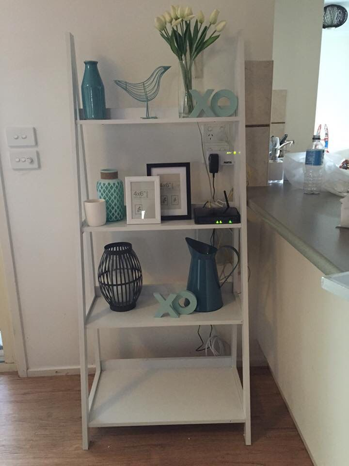 Kmart styled white ladder shelves