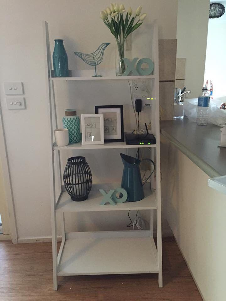 Kmart styled white ladder shelves