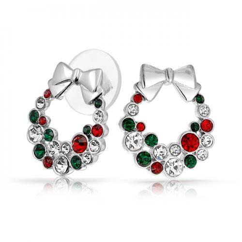 Bling Jewelry Garnet Emerald Color Crystal Christmas Wreath Bow Stud Earrings
