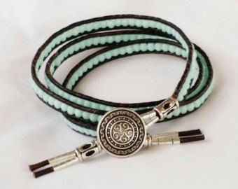 Triple envoltura de cuero y Amazonita pulsera de bolas de piedra azul Aqua
