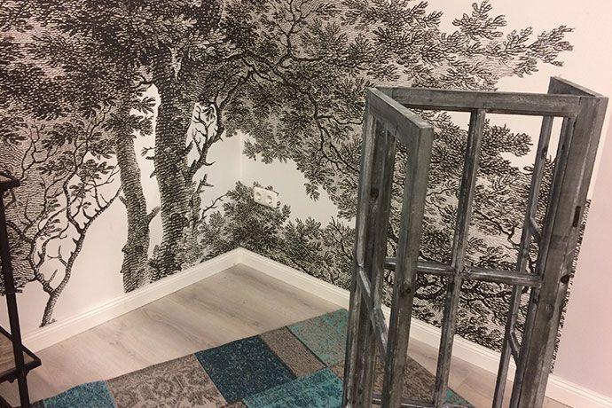 wandpanel passepartout baum rasch farbe little green. Black Bedroom Furniture Sets. Home Design Ideas