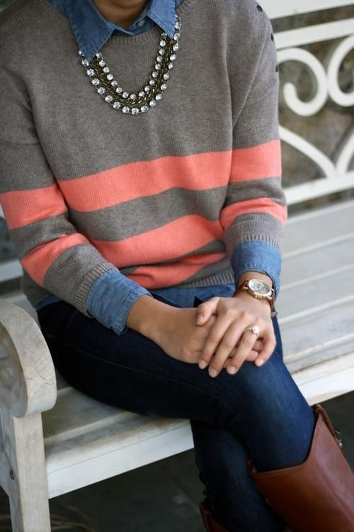 Chambray and color blocked sweater