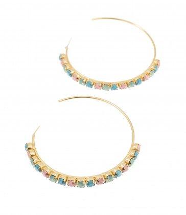 Multi-color handmade hoop earrings with Swarovski strasses, by Art Wear Dimitriadis