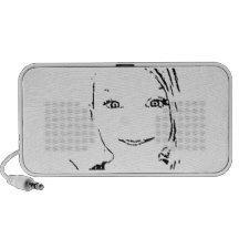 Sweet Girl, Black  White Portrait, Bright Eyes iPhone Speaker