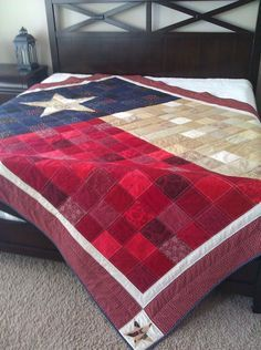 Texas Flag Quilt Pattern now available! Texas Forever! Show your Texas pride with your own one of a kind Texas Flag Quilt. PDF quilt pattern includes fabric yardage amounts, cutting and sewing instructions, color diagrams, and star templates for 7 quilt sizes: baby, toddler, lap, twin, double/full, queen, and king.
