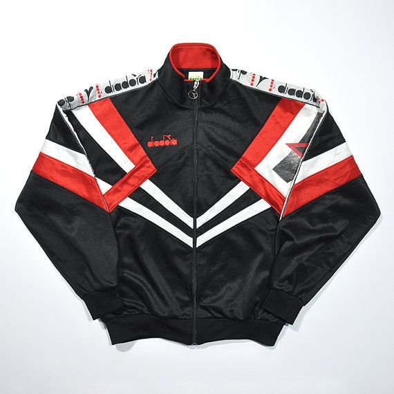 pastel-coloured training jacket in sporty style in size S Vintage sports jacket by DIADORA from the 80s