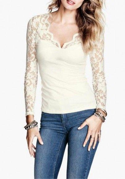 White Plain V-neck Long Sleeve Wrap Lace T-Shirt