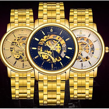 Herren Mechanische Uhr Automatikaufzug Kalender / Wasserdicht / leuchtend Edelstahl Band Bequem / Weltkarte Muster Gold Marke 5239740 2016 – €21.55