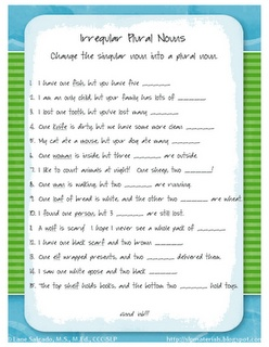 Free Worksheet!  Irregular plural nouns.