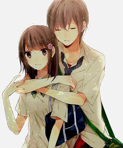 Don 39 t cry he said wrapping his arms around her shoulders - Cute anime couple pictures ...