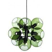Taklampan Tage med svartlackad stomme och gröna klara glasglober. Snyggt designad taklampa som många uppskattar. Effekt: 9x40W Sockel: E14 D: 44cm H: 37cm
