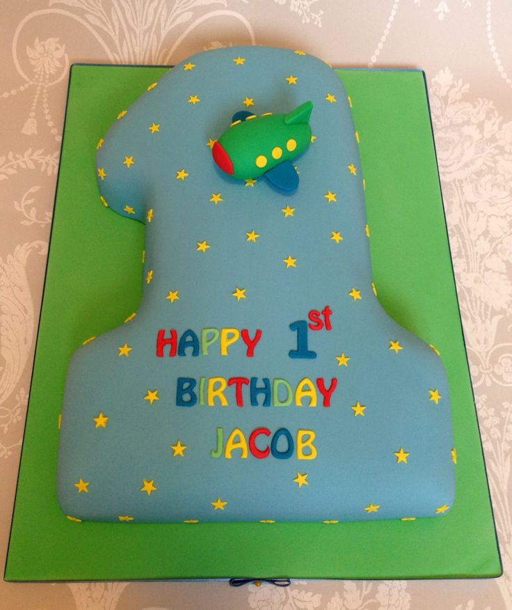 Baby boy first birthday number 1 shape cake by Queen of