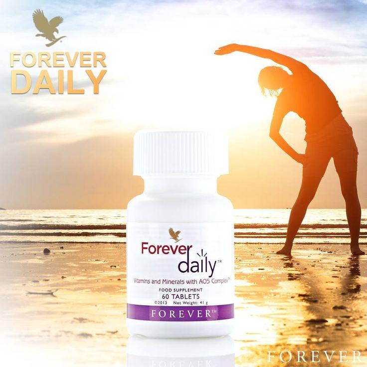 2 tabletki Forever Daily™ pokrywają w 100% zalecane dzienne spożycie na witaminy z grupy B – B₁, B₂, B₆, B₁₂, niacynę, kwas foliowy, biotynę i kwas pantotenowy, oraz na witaminy rozpuszczalne w tłuszczach – A, D, E, a także witaminę C.