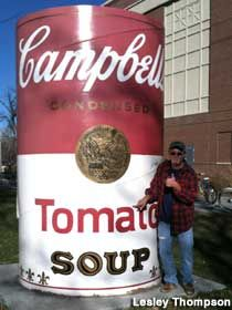 Fort Collins, Colorado: Giant Campbell's Soup Can- with Andy Warhol's signature is in front of the old Fort Collins High School.
