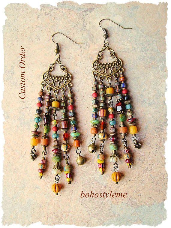Custom Order - Boho Style Earrings, Warm Colorful Earrings, Bohemian Jewelry, Unique Earrings, bohostyleme, Kaye Kraus
