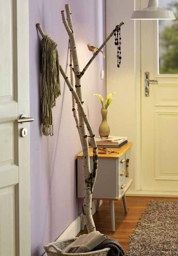 selbermachen ideen mit birkenholz f r garderobe im flur neue wohnung pinterest. Black Bedroom Furniture Sets. Home Design Ideas