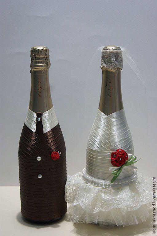 Купить свадебное шампанское (быки) - свадьба, свадебные аксессуары, свадебное украшение, свадебные бокалы