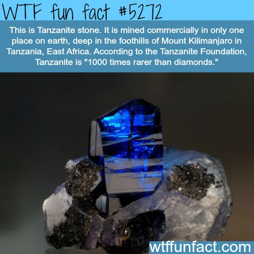 Tanzanite stone: 1K Times rarer than Diamonds! ...Mined commercially in ONLY ONE place on Earth! - WTF? awesome fun facts