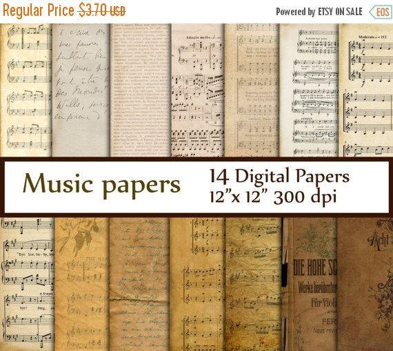 SALE50 % Antique papiers numériques de musique: par ChiliPapers