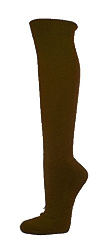 Couver Unisex Knee High Sports Athletic Baseball Softball Socks, DARK BROWN, Small Made by #COUVER Color #Dark Brown. Cotton 80 %, Nylon 12%, Rubber 8%. Sizing Guidelines: Adult Small : Men's Shoe Size 6Y - 6.5, Women's Shoe Size 6.5 - 8 / Adult M: Men's Shoe Size 7 - 10, Women's Shoe Size 8.5 - 12 / Adult L: Men's Shoe Size 10 - 13, Women's Shoe Size 12.5 - 14. Length: Knee High. Soft comfortable solid color sports socks. Made in Taiwan