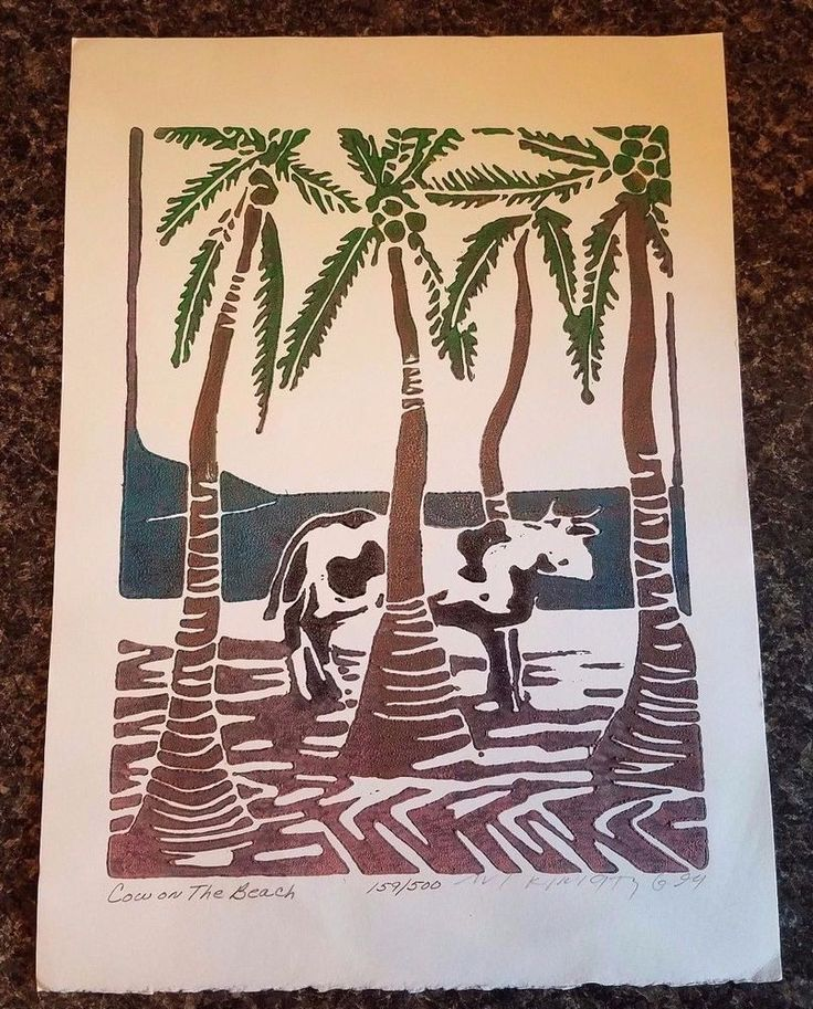 AVI KIRIATY 'Cow on the Beach' Original Linoleum Block Print June '94 SIGNED COA