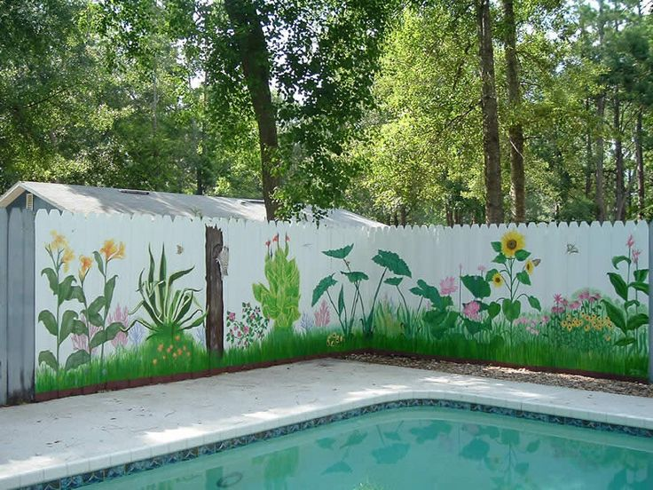 294 best outdoor garden murals images on pinterest fence for Fence painting ideas