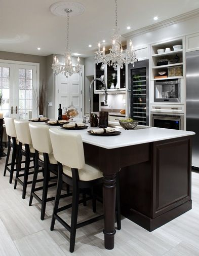 Beautiful: Cabinets, Dreams Kitchens, Kitchens Design, Interiors Design, Breakfast Bar, Dark Wood, Kitchens Islands, Bar Stools, White Kitchens
