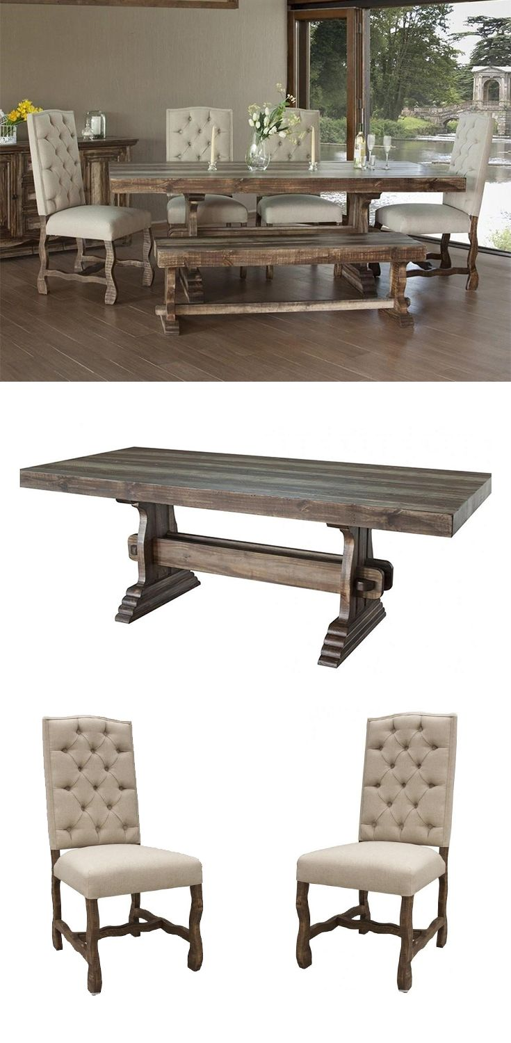 18+ Rustic table with elegant tufted chairs with nailheads dining set Trend