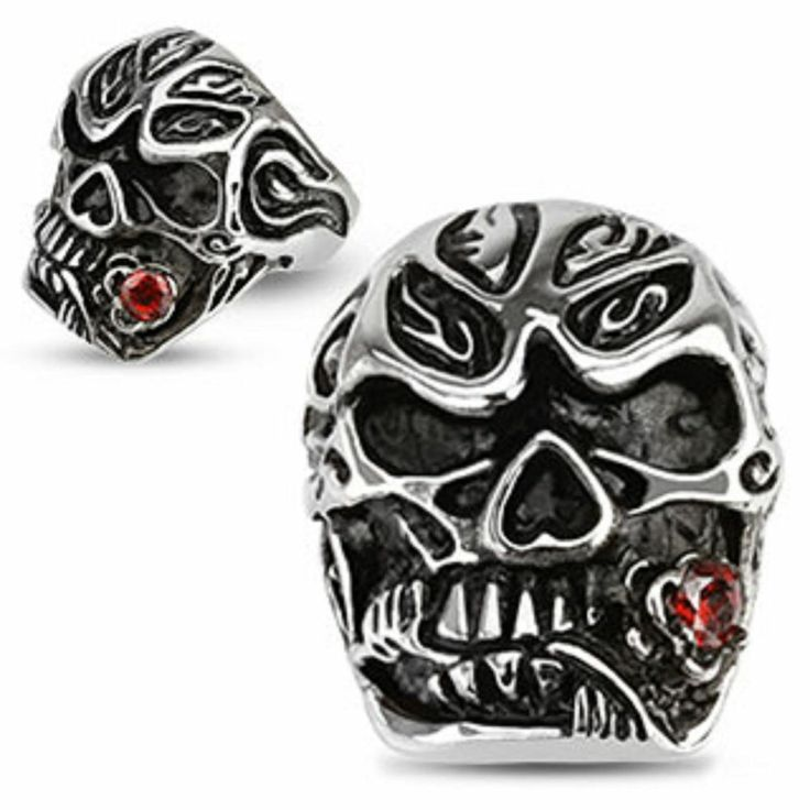 316L Stainless Steel Salsa Dancer Skull w/ Red CZ Rose Ring Sizes 10-11