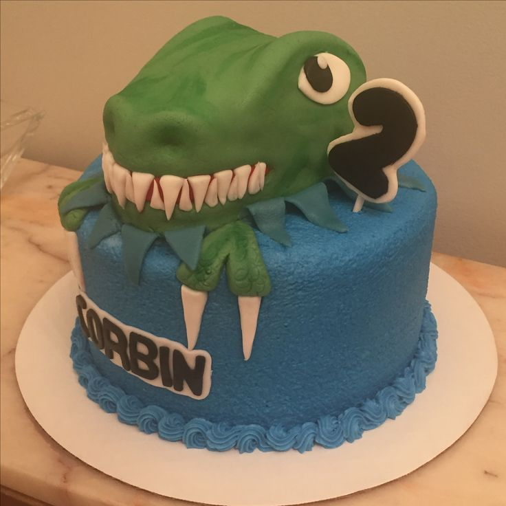 Custom homemade 3D dinosaur cake