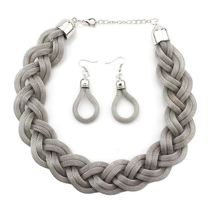 Vintage Alloy Weave Twist Chain Necklace and Earrings Set