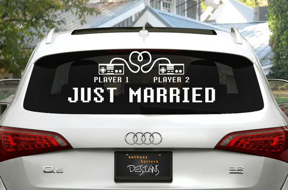 8-Bit gaming themed Just Married wedding vinyl window cling decal. Decorate your car or any window with geek love. Set includes phrase Just
