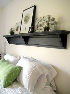 No need for a whole headboard, just a shelf will do.