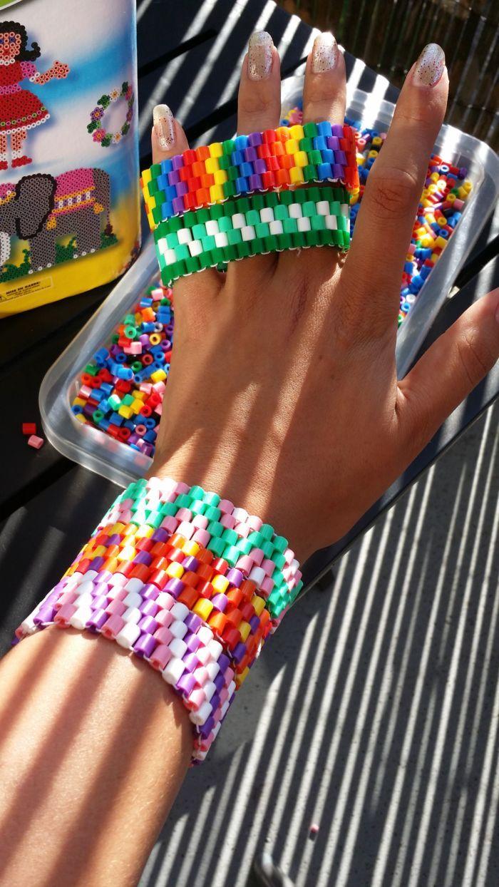 Perler bead bracelets by Manon0301