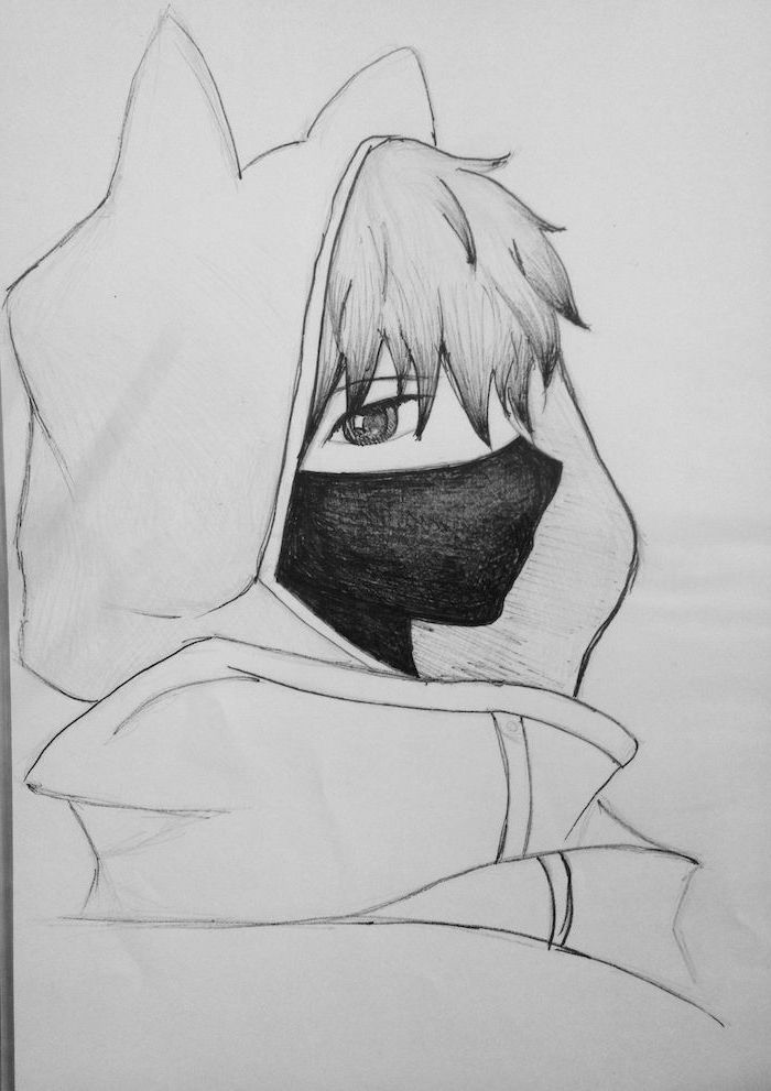 Hoodie Face Mask How To Draw Anime Characters Black And White Pencil Sketch Anime Drawings Sketches Anime Drawings Boy Mask Drawing