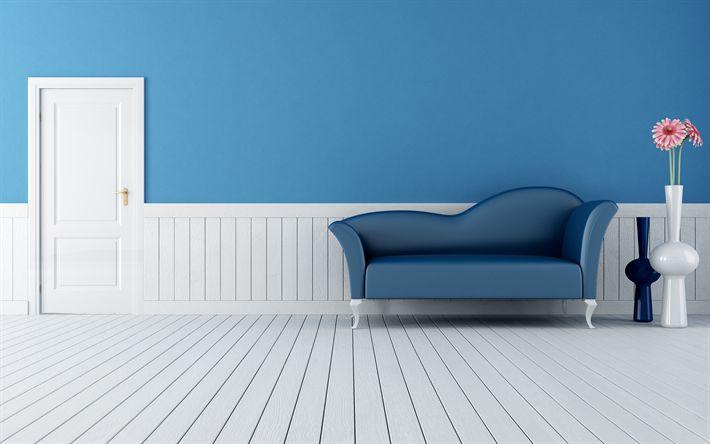 Descargar fondos de pantalla 4k, vestíbulo, sala azul, apartamento moderno, sofá azul, diseño moderno, interior de la idea