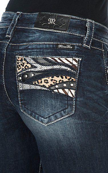 Miss Me Women's Animal Print Pocket Boot Cut Jeans | Cavender's