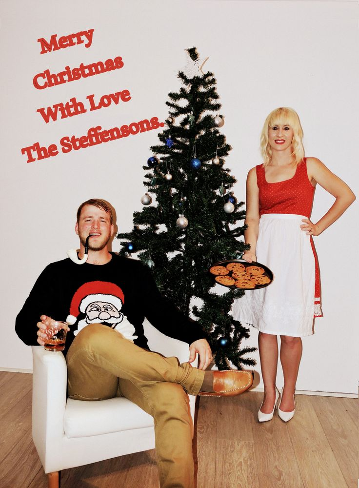 """Our Christmas Card Photo...hope you enjoy it as much as we loved making it! This year we got married and thought it would be funny to depict the old fashioned married looking couple as our photo. It is our tradition to make a unique Christmas Card Photo each year. Our friends look forward to the arrival of our card in their letterboxes each festive season. This year we were married so we thought it fitting that we depicted the """"Old Married Couple"""" look!"""