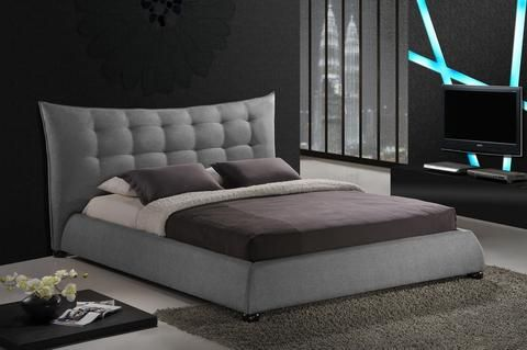 Baxton Studio Marguerite Gray Linen Modern Platform Bed - King Size - Grey-Platform Beds-HipBeds.com
