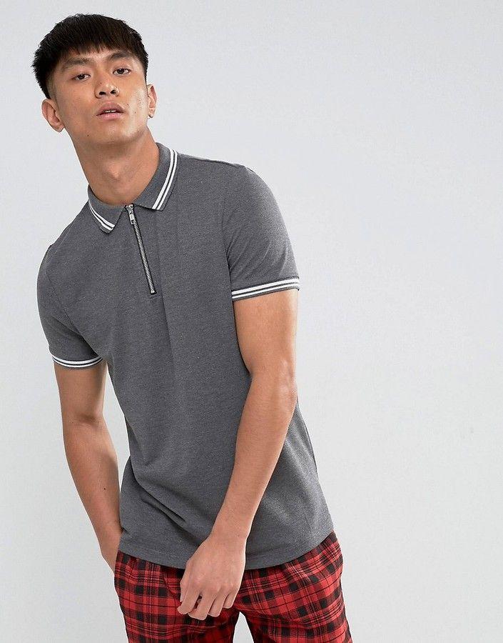 Asos Zip Neck Tipping Collar And Cuff Pique Polo Shirt