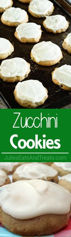Zucchini Cookies with Cream Cheese Frosting Recipe ~ Soft, Delicious Cookies Stuffed with Zucchini and Raisins then Frosted with Cream Cheese Frosting! ~ http://www.julieseatsandtreats.com