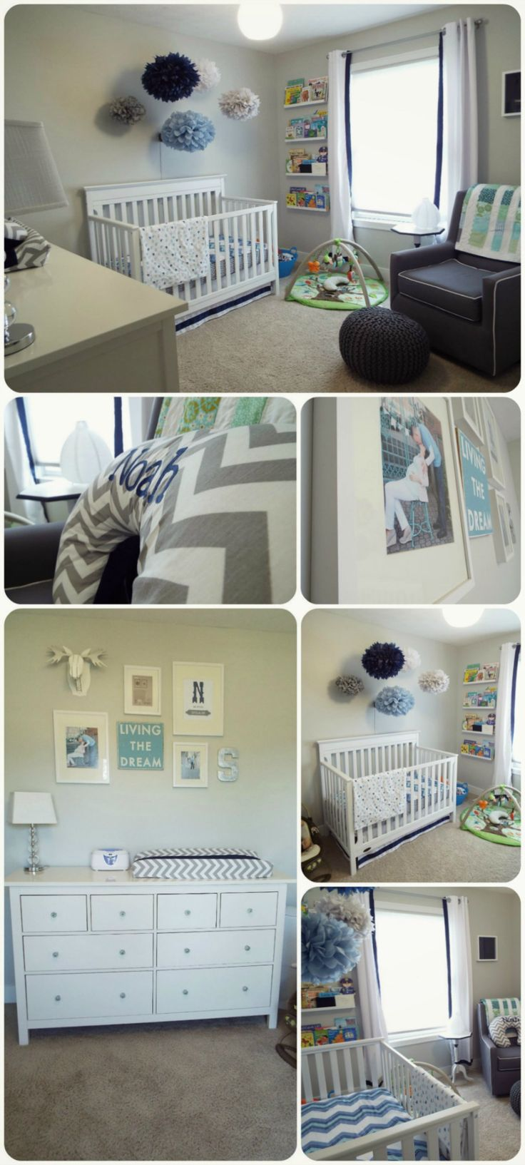 Boy Ikea Nursery. Navy, Grey & White http://alltheprettythings-cristina.blogspot.com/