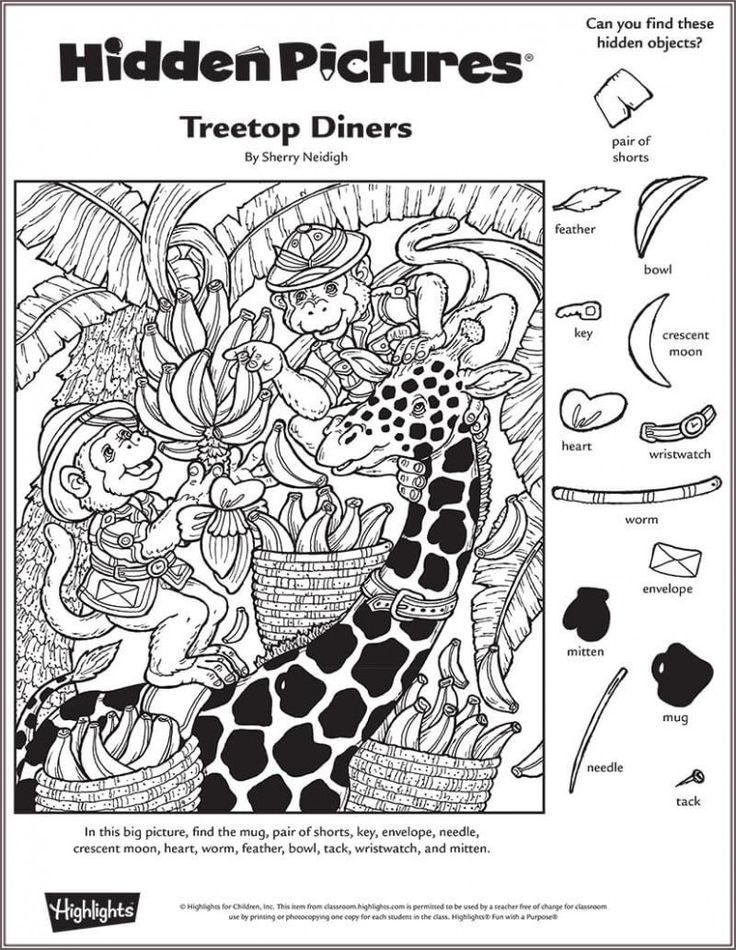 Treetop Diners Hidden Pictures Puzzle                                                                                                                                                     More