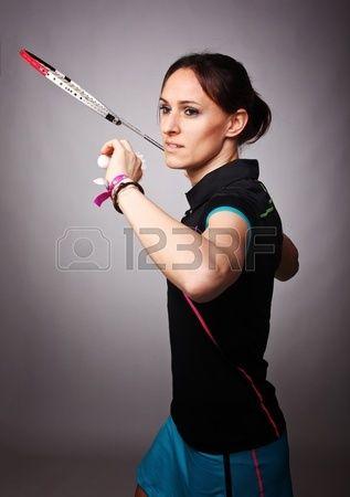 portrait of caucasian woman play badminton Stock Photo