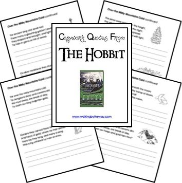 You can find free copywork printables for The Hobbit at Walking By the Way. Click here to find more free copywork pages!