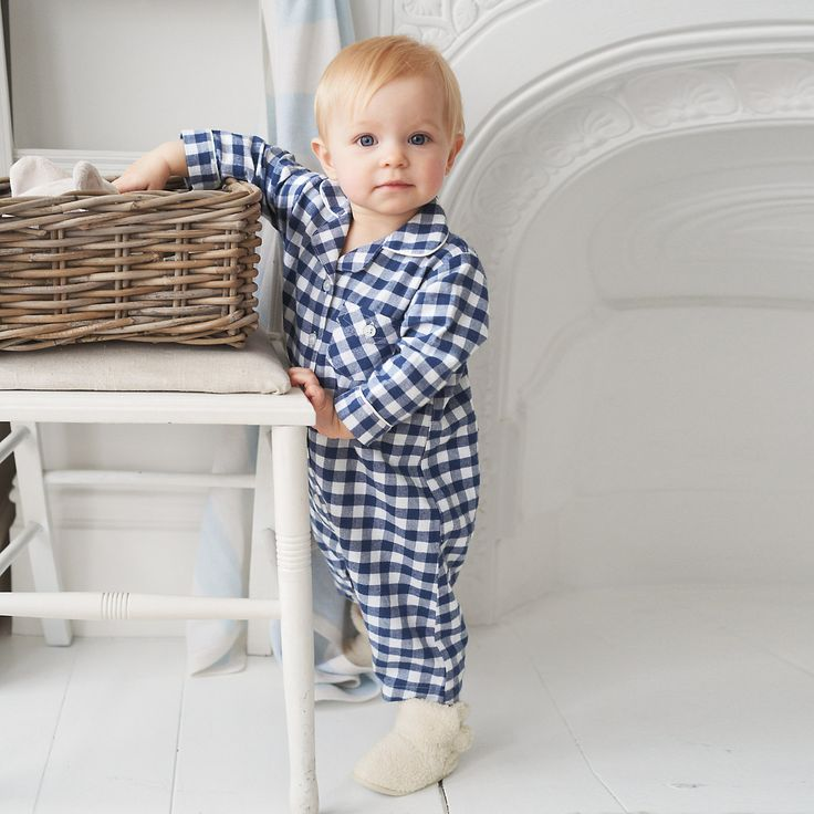 Buy Baby > Baby Sleepwear > Boys Gingham Flannel Sleepsuit from The White Company