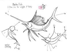 Draw a Sail-Sword-Marlin Fish by ~Diana-Huang on deviantART (When it comes to any animal moving in the water it is a good idea to first draw the line of motion... how the body curves and curls)