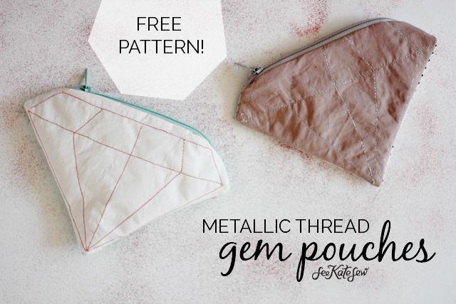 FREE PATTERN // metallic gem zipper pouch