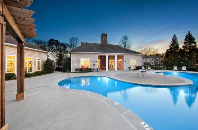The beautiful pool area at Wynthrope Forest Apartments in Riverdale, GA.